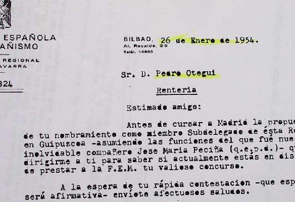 Nombramiento Pedrotxo Otegi. 1954 1945